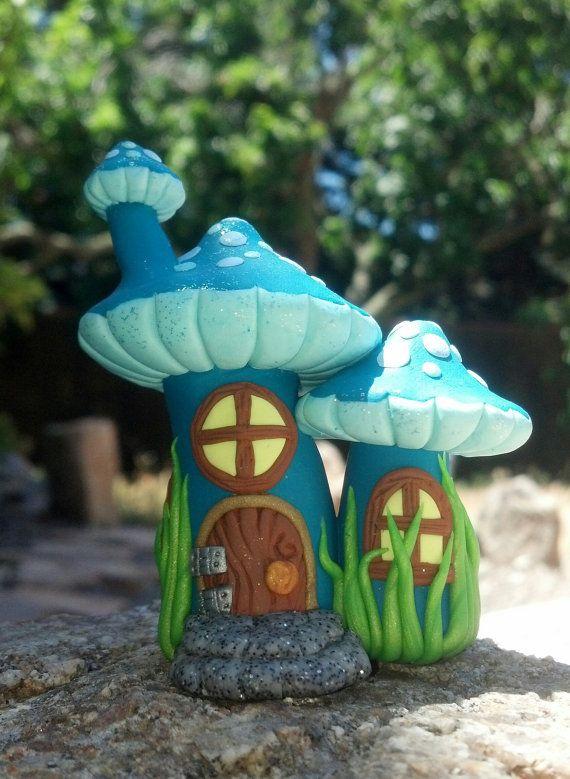 Blue Mushroom Fairy House Cake Topper by KeezaStarrCreations, $25.00
