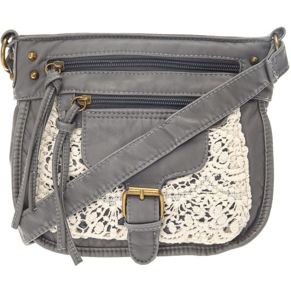 Grey Crochet Cross Over Bag ($12) ❤ liked on Polyvore featuring bags, handbags, shoulder bags, crossbody purse, gray purse, crochet purse, crochet crossbody and grey handbags
