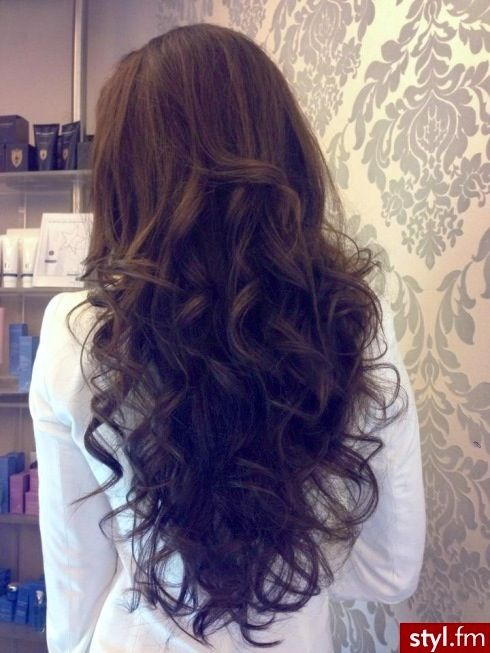 Big loose romantic curls - dark chocolate brown hair