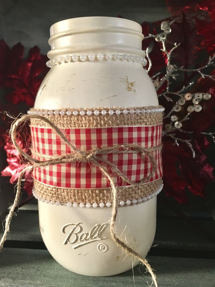 Excited to share the latest addition to my #etsy shop: Christmas Mason Jars #christmas #burlap #farmhousechristmas #rusticchristmas