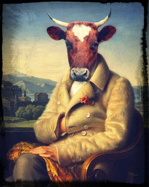 "Cow Mixed Media Collage Art, Anthropomorphic, Altered Fine Art, Bull, Vintage Portrait, 8 x 10, ""A Bull For All Seasons"""
