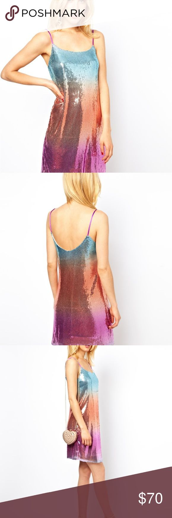 ASOS Petite Rainbow Sequin Cami Dress NWT 8 Petite Size 8 Petite - Asos brand- NWT - Rainbow sequin ombre - Dainty cami straps - NWT - Perfect as a formal dress for a night out, Vegas, a party! ASOS Dresses Prom