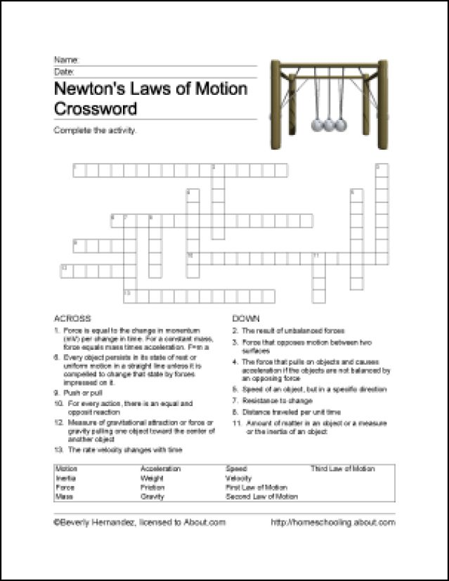 Free Printable Newton's Laws of Motion Word Search: Newton's Laws of Motion Crossword Puzzle