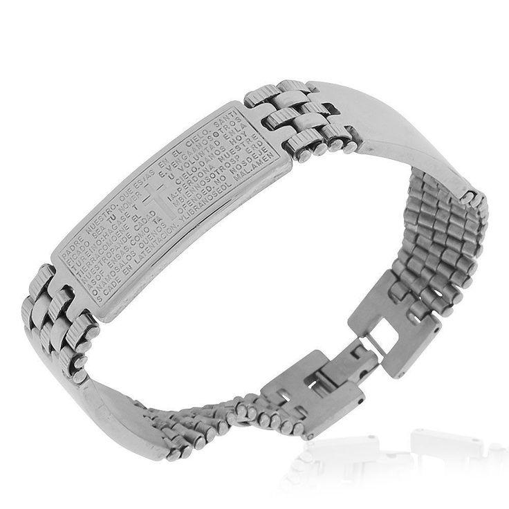 "Stainless Steel Silver-Tone Padre Nuestro Prayer In Spanish Mens Bracelet, 8.25"""