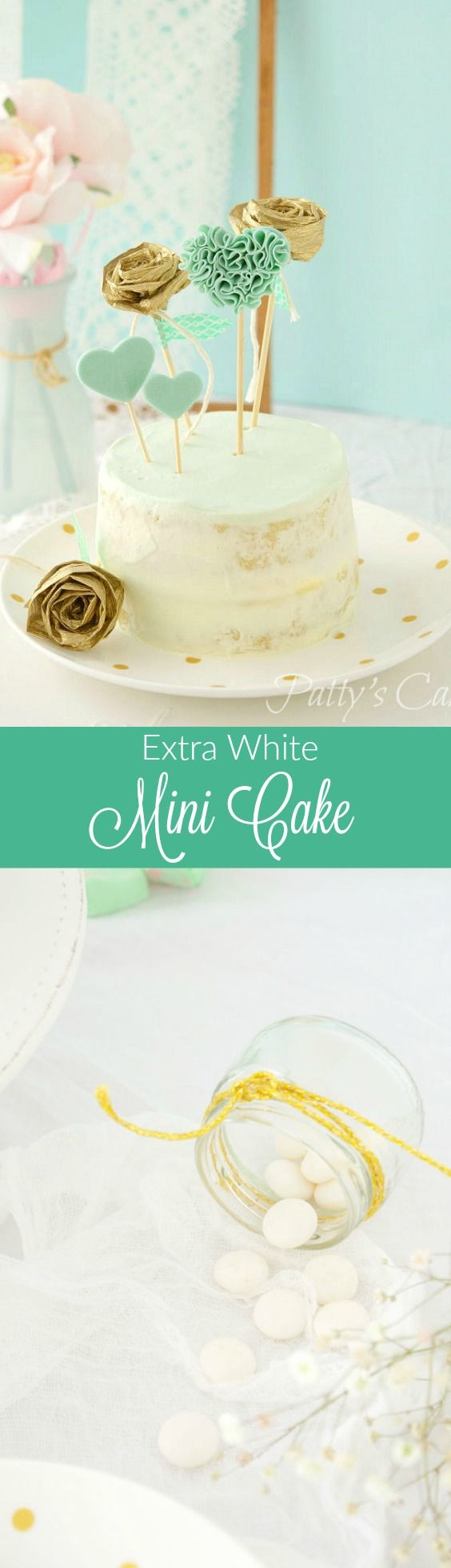 Extra white mini cake for weddings, baptisms,... white, mint and gold decorations. English recipe included.  Tarta extra blanca para bodas, bautizos... Decoración blanca, menta (mint) y dorado. ¿Te atreves a ponerla en tu celebración?