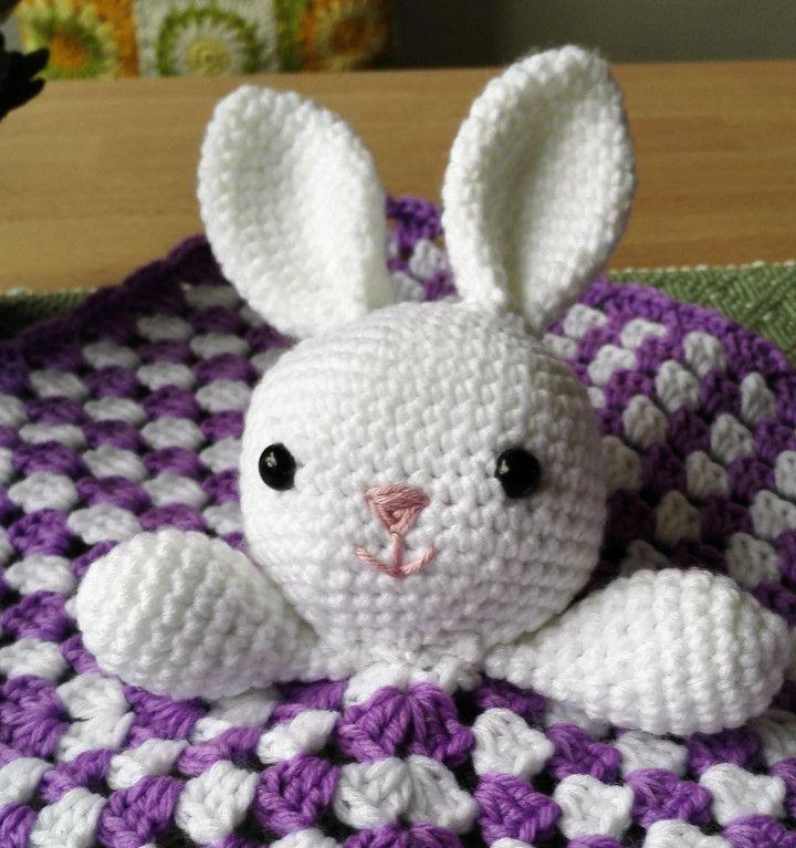free pattern bunny lovey granny square blanket amigurumi