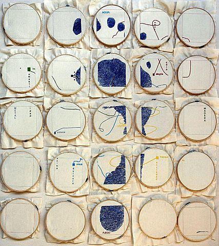 Autoretrato, 2003, Embroidery on Canvas, 70 x 70 in.