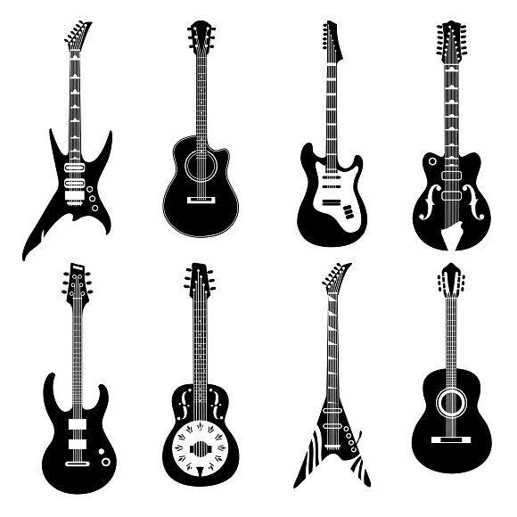 Set Of Black Guitars Icons Guitar Illustration Guitar Drawing Music Tattoo Designs