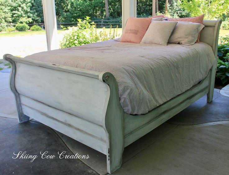 Rustic, shabby, romantic, wooden queen sleigh bed painted in MMS antique white and Annie Sloan's pure white with clear and black wax.  Available in my Etsy store https://www.etsy.com/ca/shop/skiingcowcreations?ref=seller-platform-mcnav