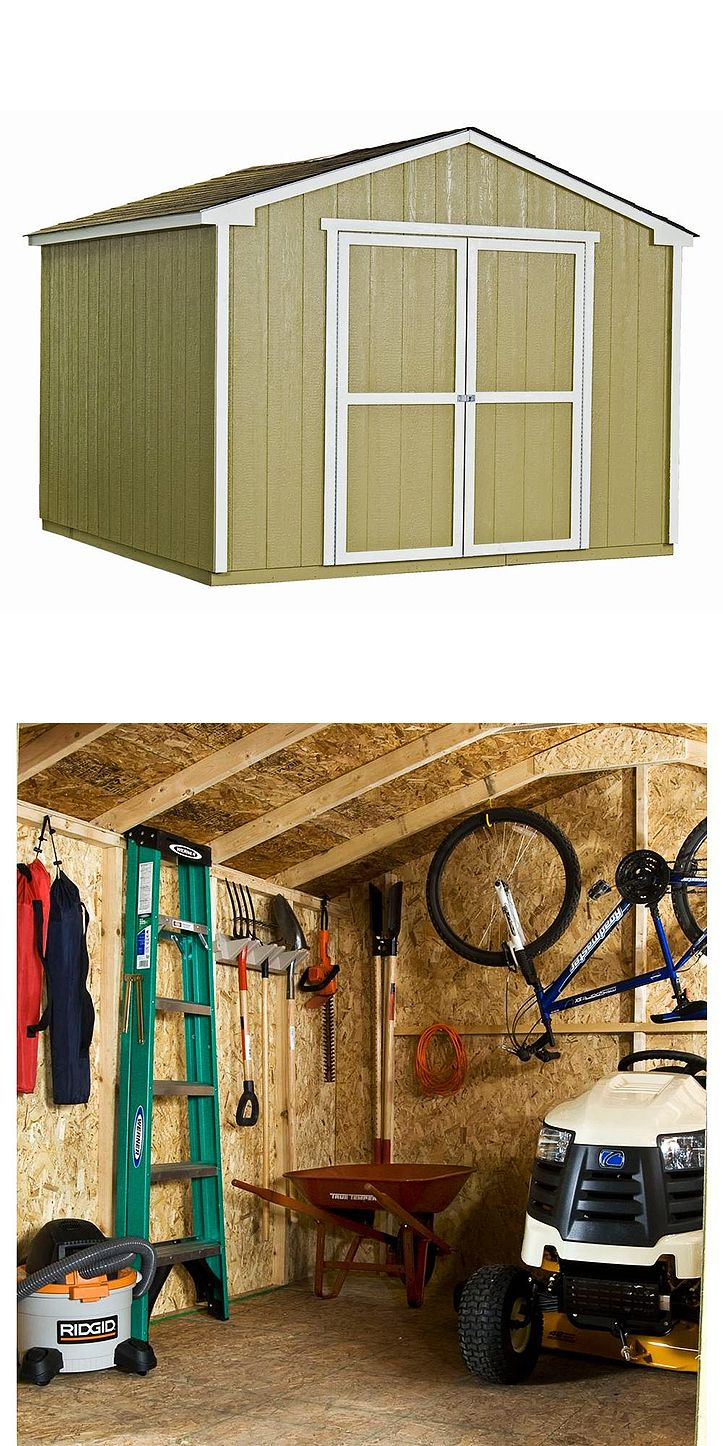 The Handy Home Products Princeton 10 ft. x 10 ft. Storage Shed allows you to customize your shed with paint and shingles (not included) to match your home. The 64-in.-wide double doors feature full-length hinges and swivel hasps for easy access to large lawn and garden equipment. The sturdy 2 x 3 construction helps to meet the demands of inclement weather.