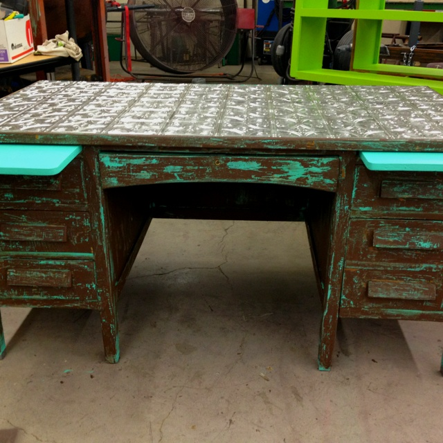 Refurbished Office Desk With Tin Top And Turquoise Brown