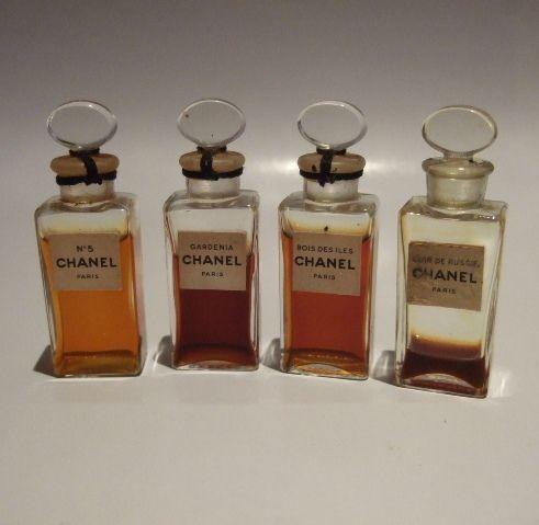 Antique #Chanel miniature parfum testers: No. 5, Gardenia, Bois Des Iles, Cuir De Russie