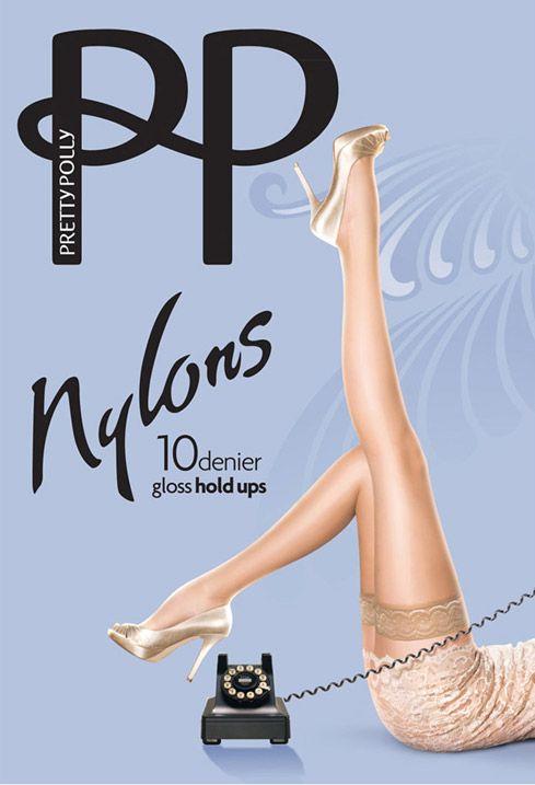 Vintage glans hold ups. Nylons van Pretty Polly