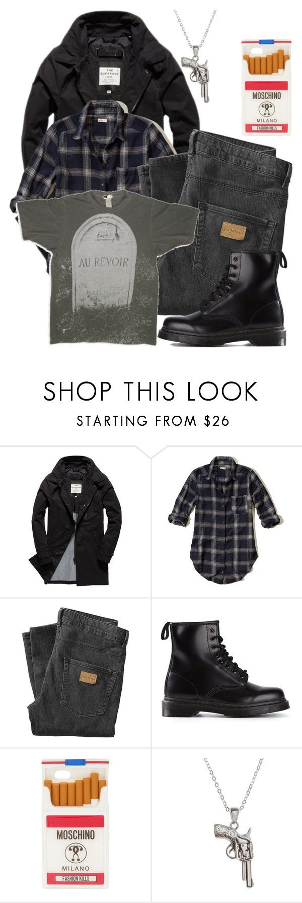 """Jason ""JD"" Dean"" by yorkington ❤ liked on Polyvore featuring Superdry, Hollister Co., Just Junkies, Dr. Martens, Moschino, La Preciosa, men's fashion and menswear"