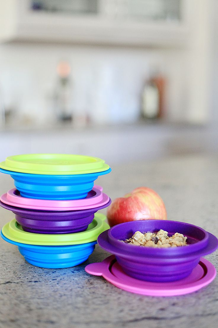 All Gone Collapsible Snack Bowl. Take snacks anywhere in these fun containers made from food grade silicone. When finished, collapse it and save space in your bag for the trip home.