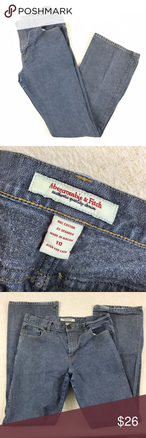 Abercrombie and Fitch boot cut retro jeans Overall excellent condition light where on hems. 98% cotton 2% spandex. Size 10.Flat and unstretched approximate measurements are waist 15 inches rise 9 1/2 inches inseam 31 inches Abercrombie & Fitch Jeans Boot Cut