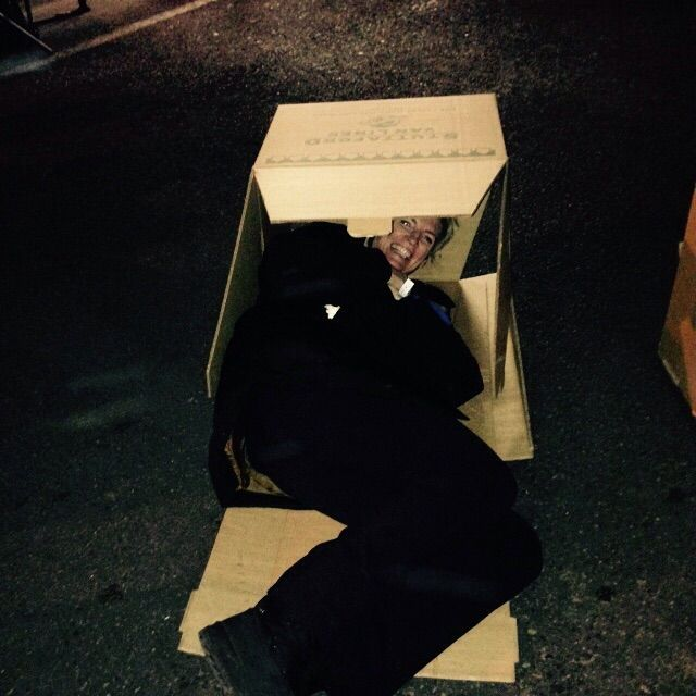 """Bronwyn's """"bed"""" for the night at the #CEOSleepOutZA raining millions for the homeless."""