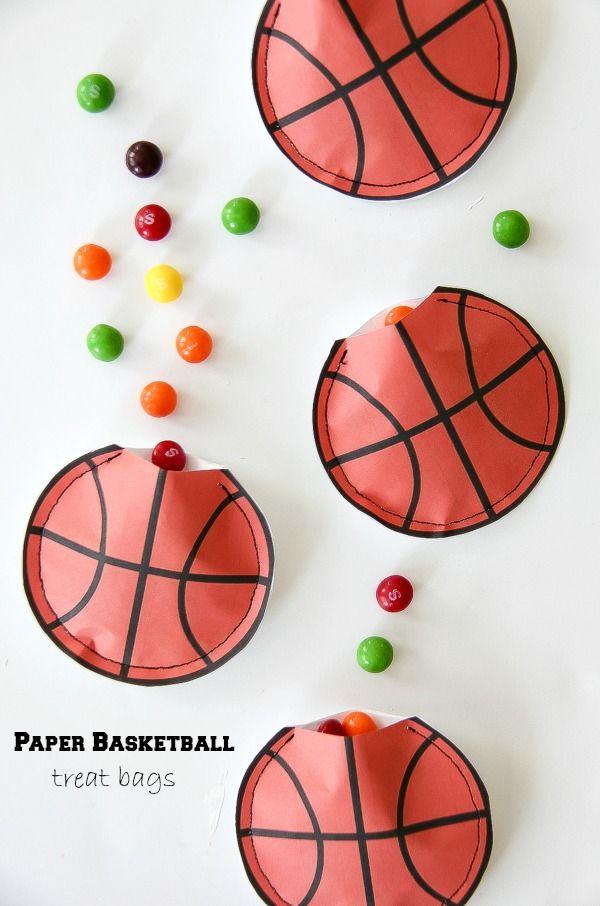 Basketball Party Idea: DIY Paper Basketball Treat Bags #SkittlesTourney #cbias #ad