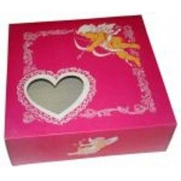 Caja San Valentín, cartoncillo impresión anónima a 2 colores, con ventana de corazón. Diferentes medidas a elegir. http://www.ilvo.es/es/product/caja-san-valentin