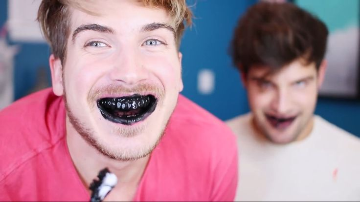 Lol so funny! Screen shot; Joey Graceffa and Daniel in testing weird beauty products! Teeth whitening
