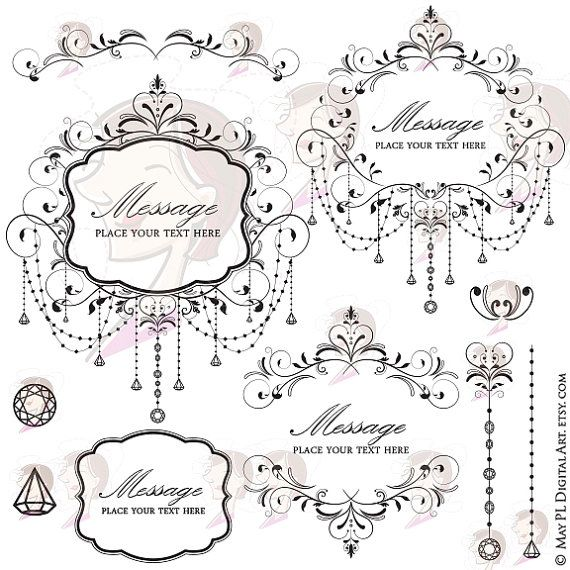 Chandelier Frames Black Vintage Flourish Swirl Elegant Chandelier Chain Crystal Floral Wedding Scrapbook High Resolution Clipart Heart 10358