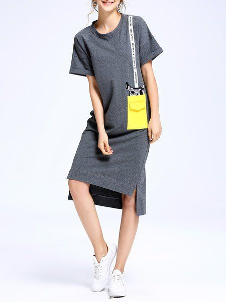 Серые животные печать с коротким рукавом Разрез Midi платье