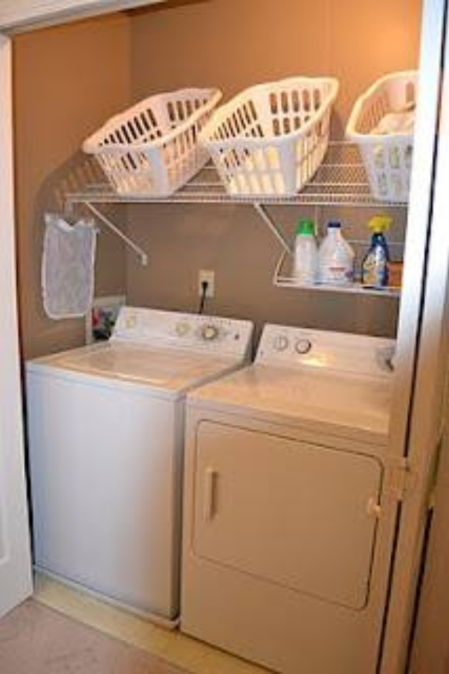 Turn a shelf upside down to store laundry baskets. Can hang items where shelf goes over the awkward corner.