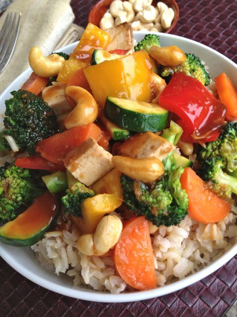 Fresh Broccoli and Vegetable Teriyaki Stir-Fry with Cashews - Vegan