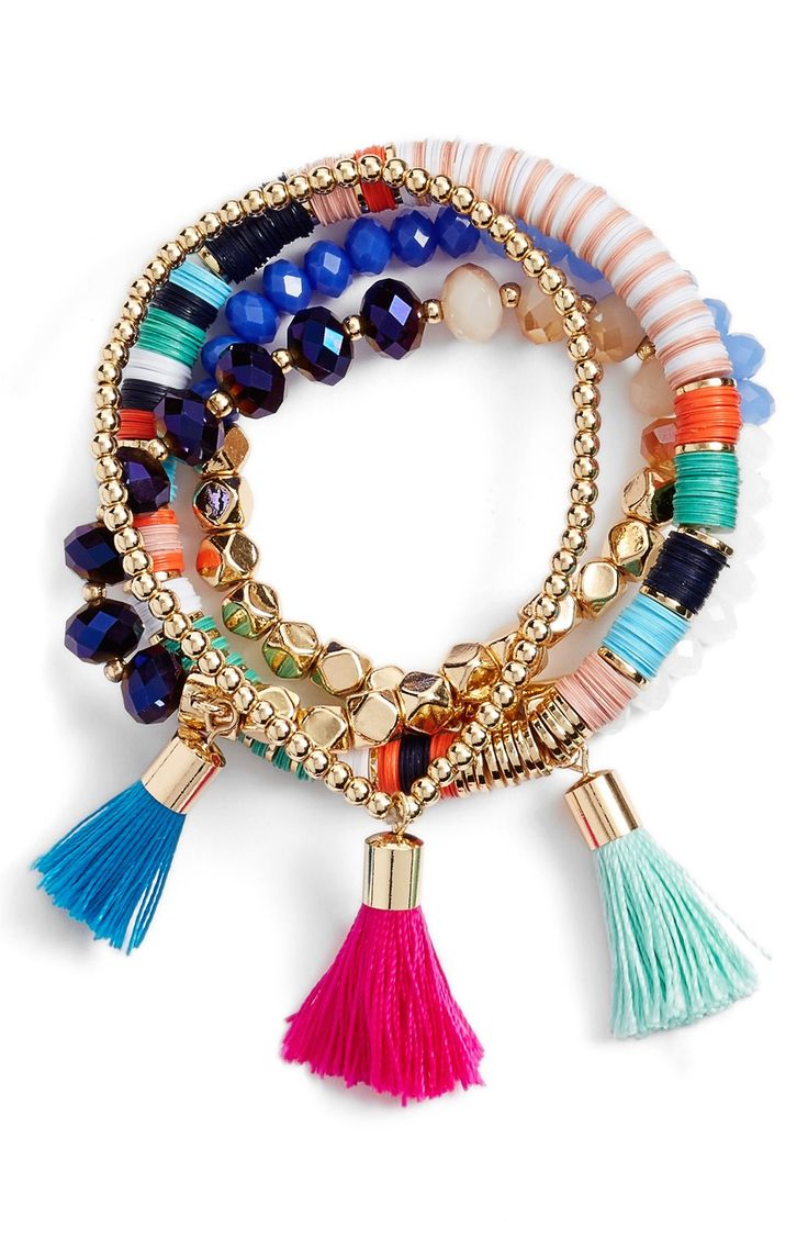 Play up the festivity of any outfit with this bracelet set from BaubleBar. The colorful beads and tassels will brighten up any outfit.