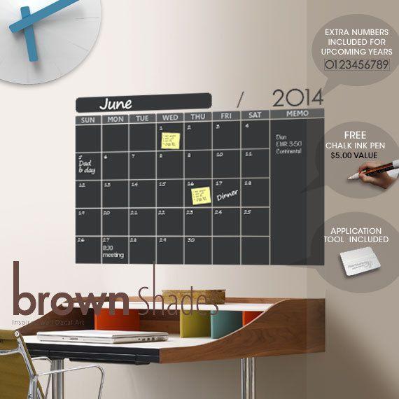 Wall Decal : Tableau noir mural calendrier avec marqueur de 6mm encre CHALK gratuit sur Etsy, 35,70 €