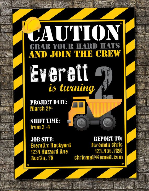 Invitation Editable Construction Birthday Template