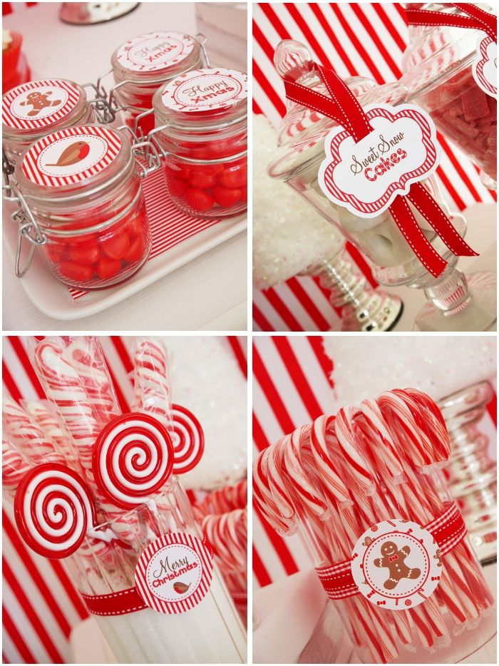 Red and white striped holiday party from Bird's Party Blog