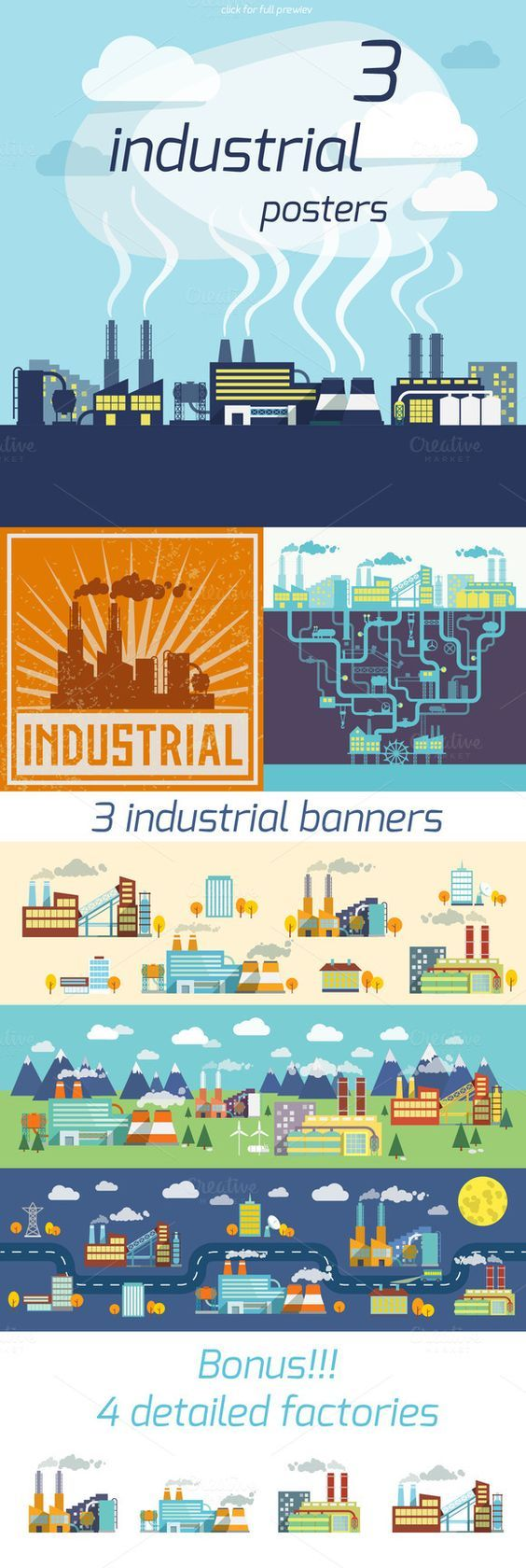 Check out 3 Industrial Factory vector posters by Macrovector on Creative Market: