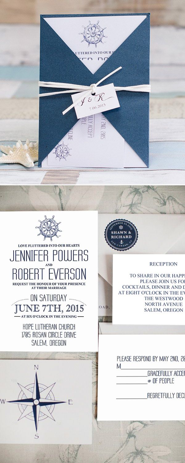 reception information on back of wedding invitation%0A navy blue pocket nautical beach wedding invitations