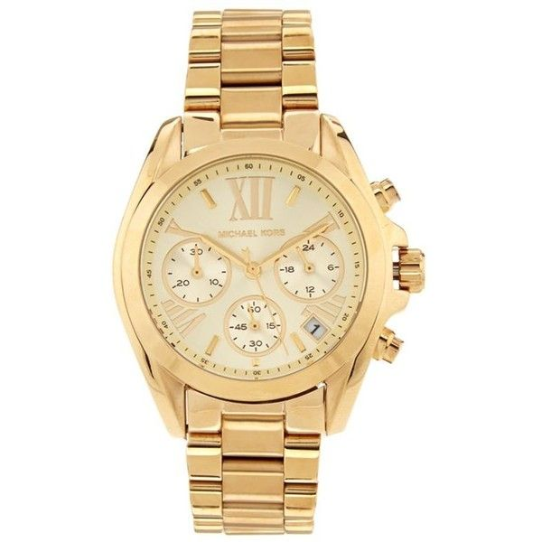 Michael Kors Bradshaw 35mm Watch ($350) ❤ liked on Polyvore featuring jewelry, watches, accessories, bracelets, polish jewelry, stainless steel jewelry, slim watches, gold tone jewelry and roman numeral bracelet
