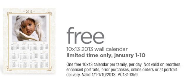 FREE 10×13 2013 Wall Calendar at JCPenney Portrait Studio