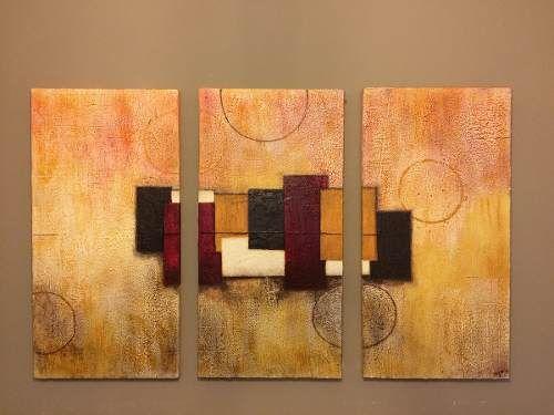 cuadro triptico pintura texturada abstracta