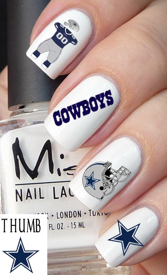 50pc Dallas Cowboys nail decal set by DesignerNails on Etsy, $4.00