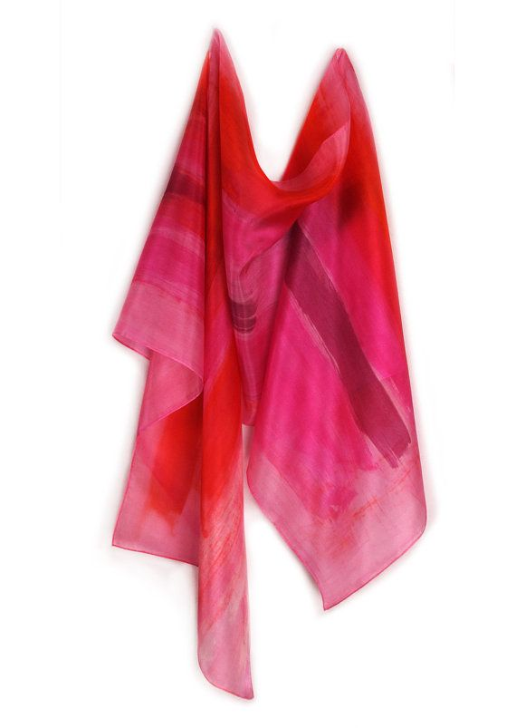 Silk scarf scarves hot pink Hand painted silk by SilkScarvesDimo