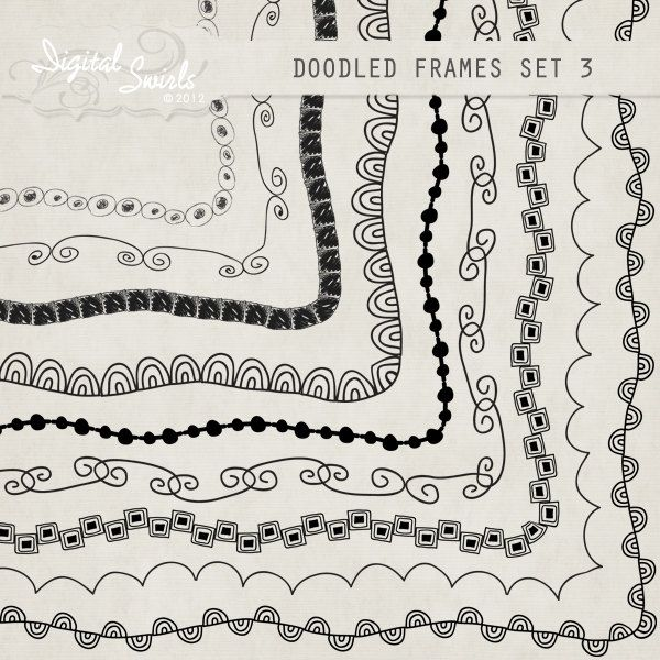 doodled frames 3 85 x 11 digital clipart for card making scrapbooking printed products commercial use instant download
