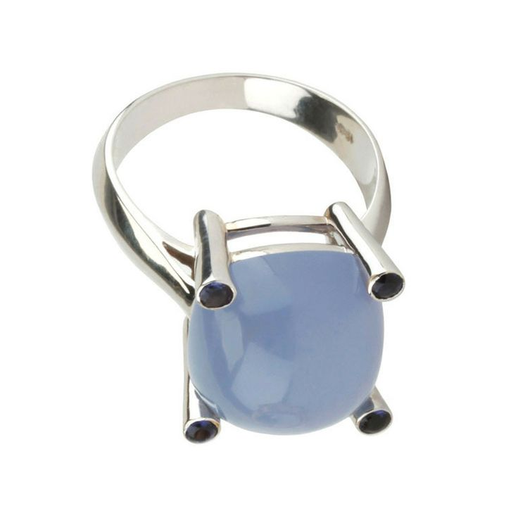 White Gold Small Cushion Ring with Cabochon Chalcedony and Iolite   From a unique collection of vintage more rings at http://www.1stdibs.com/jewelry/rings/more-rings/