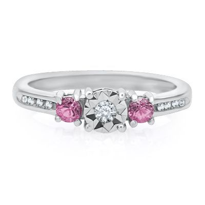 Sterling Silver Pink Diamond Ring