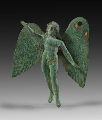 Flying Eros.    Naked, boyish Eros with long hair and outstretched right hand. 3rd century A.D. Roman.