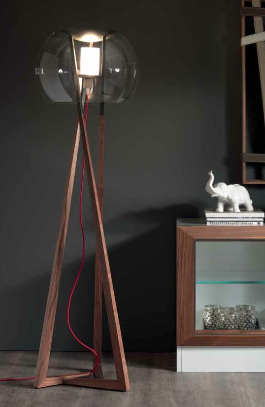 Wooden floor lamp compass by cattelan italia design andrea lucatello