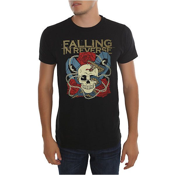 Falling In Reverse Skull Snake T-Shirt | Hot Topic ($21) ❤ liked on Polyvore featuring tops, t-shirts, black skull top, reversible t shirts, black skull t shirt, black wrap top and skull t shirts