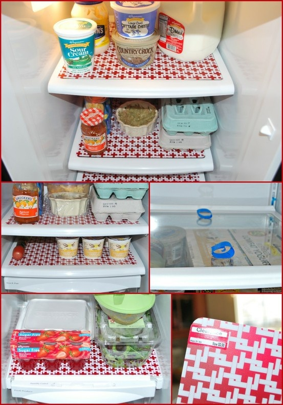 line shelves with waterproof place mats for hiding messes and easy clean up.  No tutorial for this but it's easy to do.  Just clean shelves, dry well and place painters tape on shelf.  Measure and cut waterproof  place-mats and press down on tape.