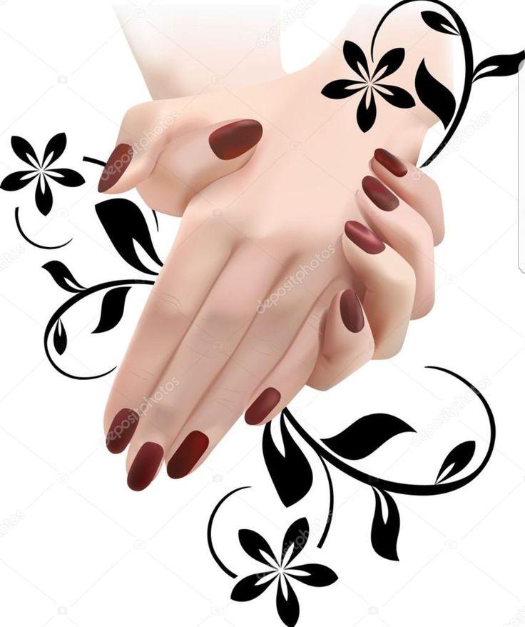 Руки с ногтями картинка черно-белая