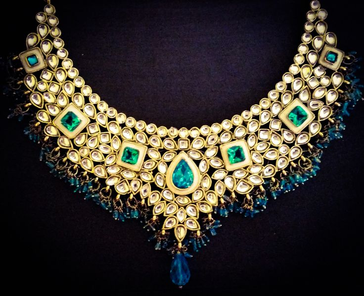 Stunning blue and white necklace by Rangoli Collections in Toronto, Ontario. Perfect for Desi weddings, mehendi, sangeet, Diwali/Eid party and everything in-between.   Available with matching earrings and tikka and clutch to complete the look.   Email: rangoli.collections@hotmail.com  #rangolicollections #indianwedding #indianjewellery #gorgeous