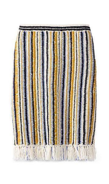 Tory Burch Crochet & Fringe Long Skirt