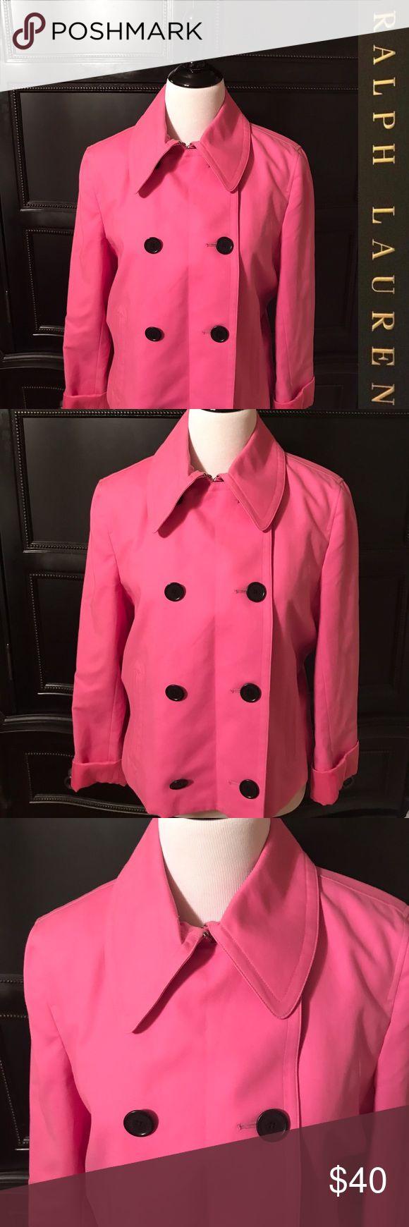 Ralph Lauren hot pink pea style jacket XL Ralph Lauren hot pink pea style jacket XL super cute and in great condition with silk lining. Ralph Lauren Jackets & Coats Blazers
